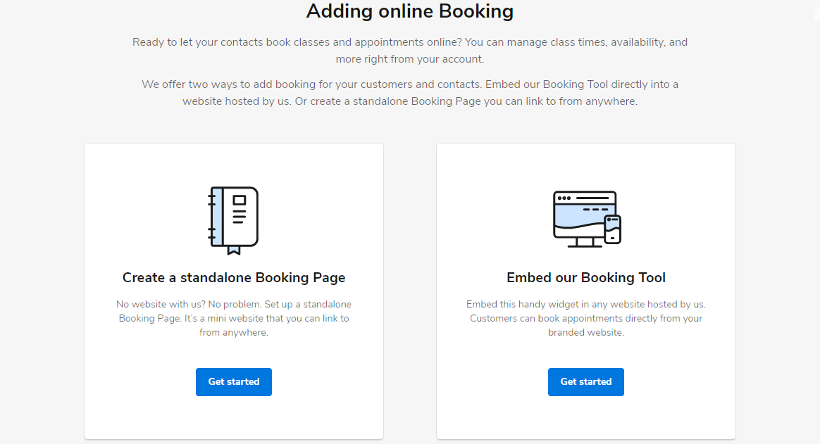 Choose whether you want to create a stand-alone booking page or embed our booking tool