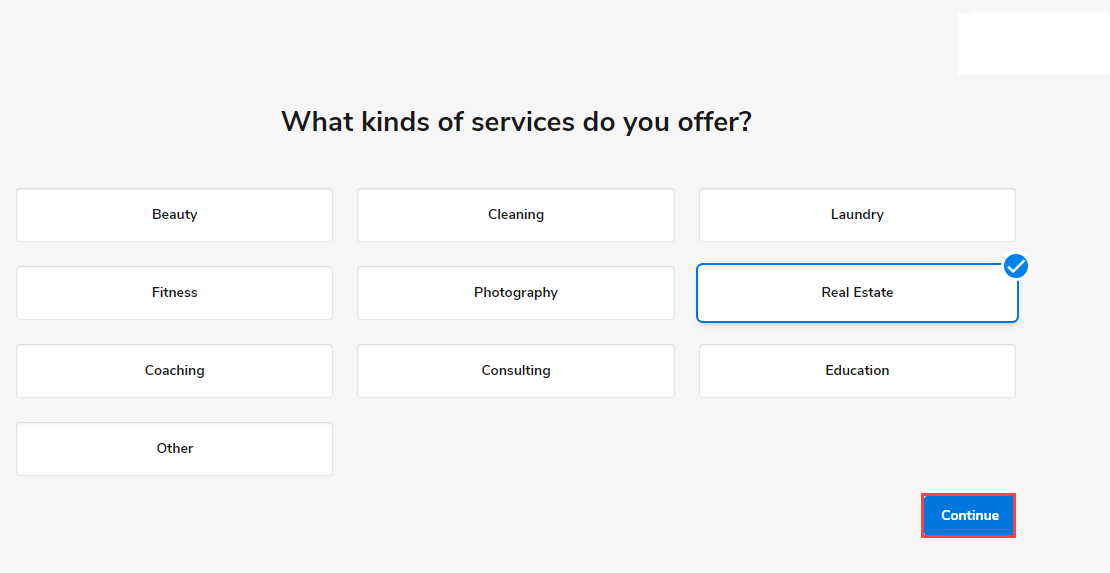 Select the closest category for the services