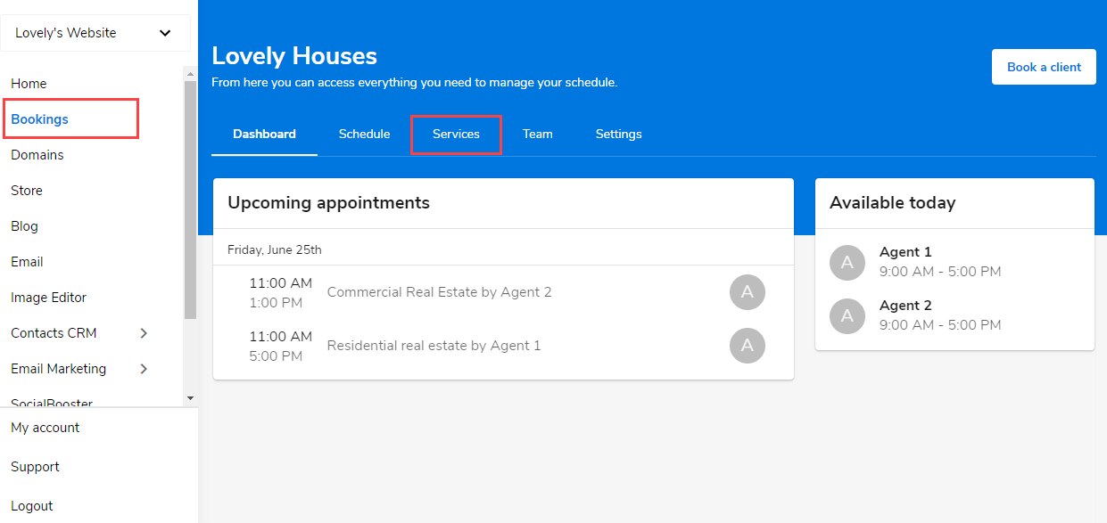 Select the Services tab