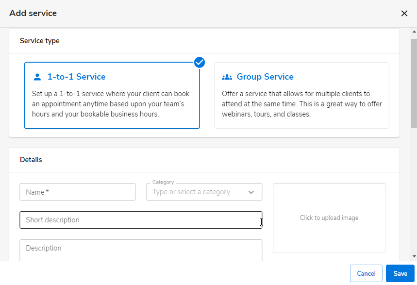 Select the service type