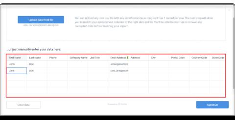 paste contact information in their corresponding columns