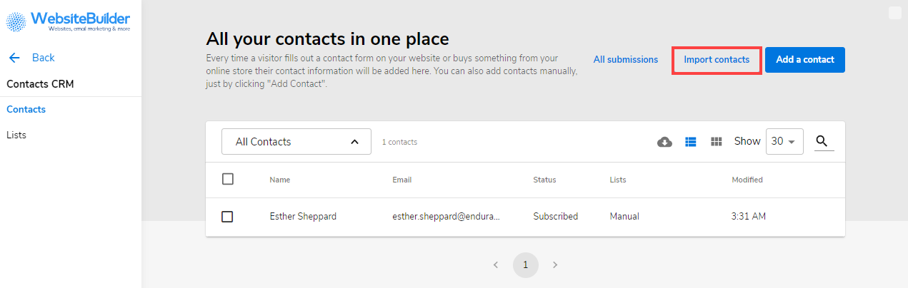 Click on Import Contacts