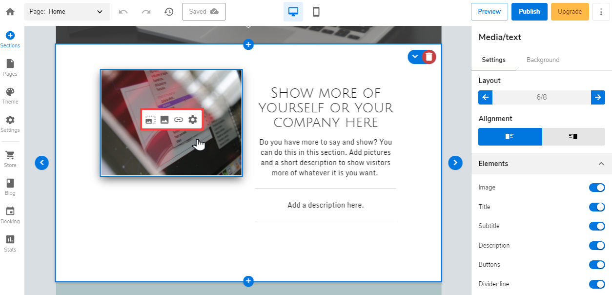 Add an image or select an existing image on your website