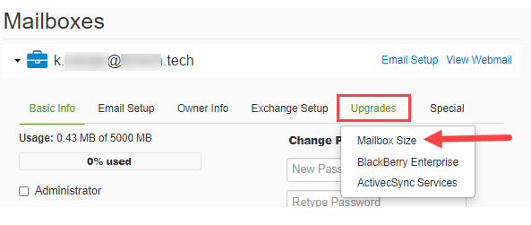 Click Upgrades then Mailbox Size