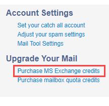 Purchase MS Exchange credits