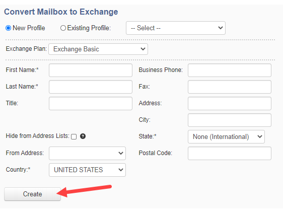 Convert Mailbox to Exchange and hit create