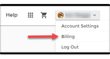 billing drop-down menu