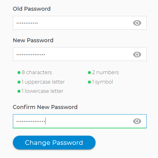 Click on change password button