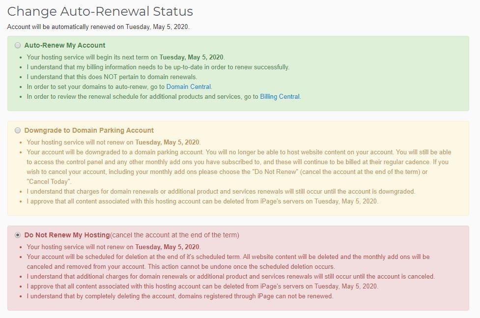 Change Auto-Renewal Status