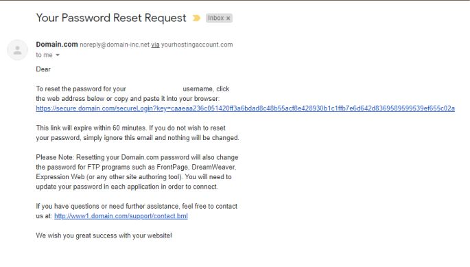 Forgot password email