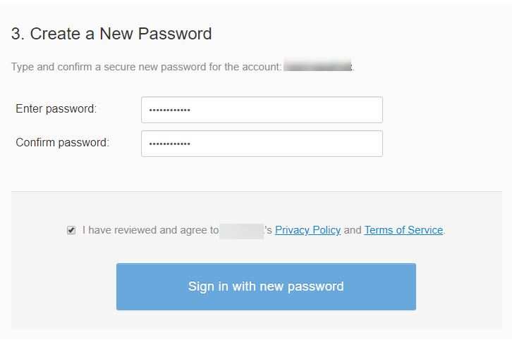 Sign in with new password