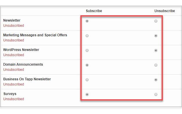 subscribe unsubscribe radio buttons