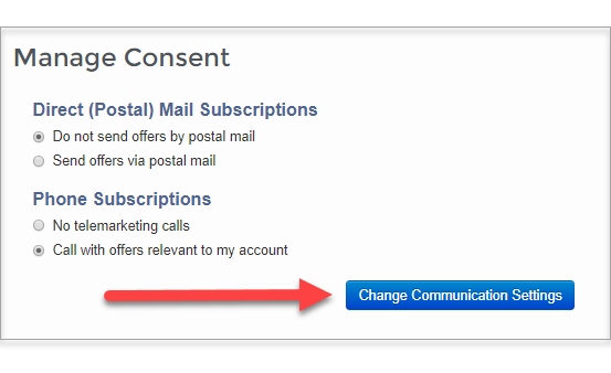 Change communication settings button