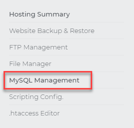 MySQL Management link