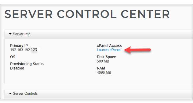 Launch cPanel link