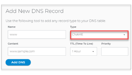 Select the DNS Record Type