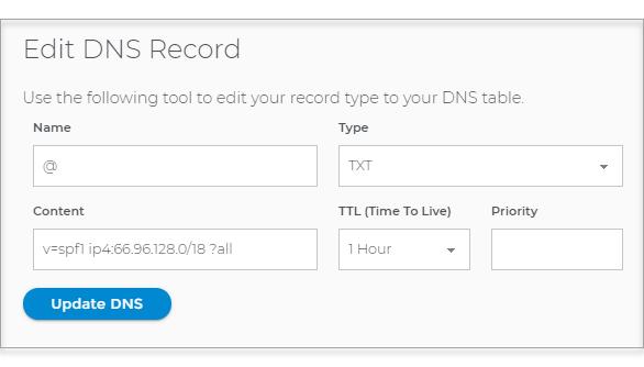 Click Update DNS