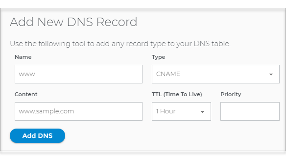 Add new DNS record window