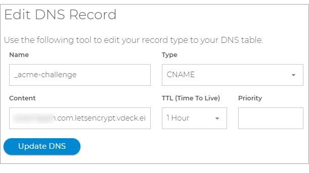 Edit DNS records window
