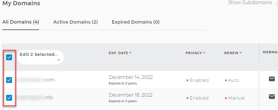 Domain checkbox