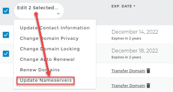 Update nameserver option