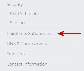 Pointers & Subdomains menu choice