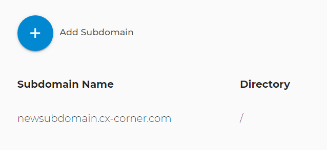 New subdomain is displayed
