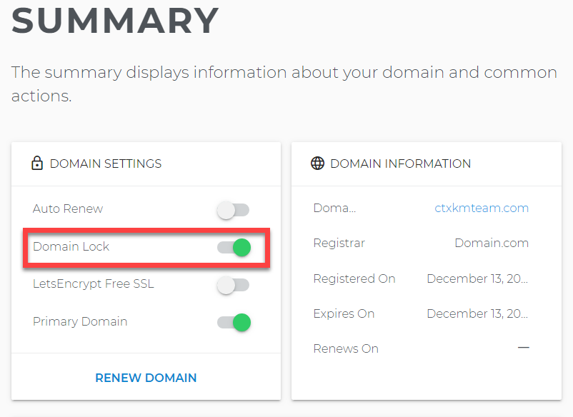 Domain lock toggle