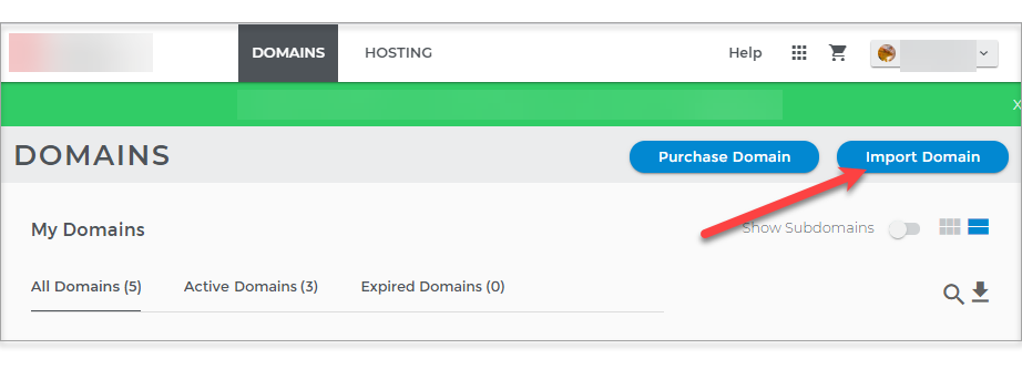 Import Domain Button