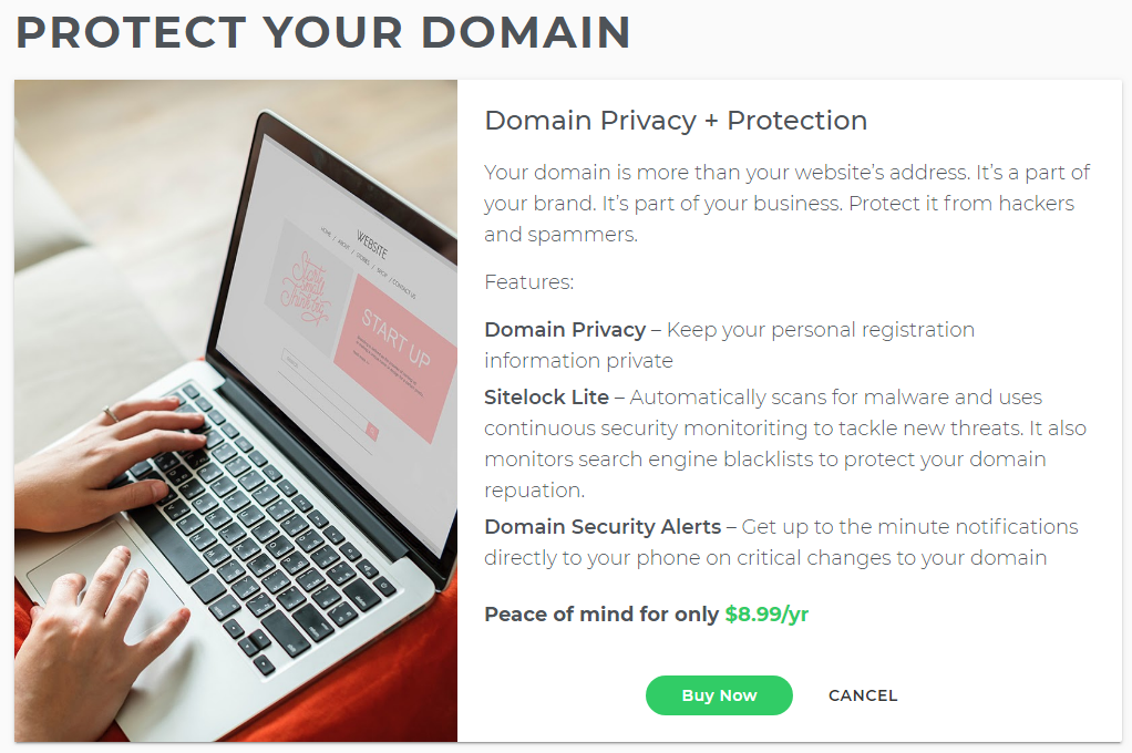 Learn about Domain Privacy + Protection, click on Buy Now
