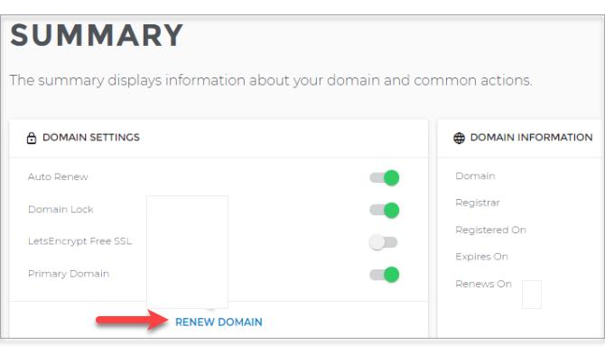 Renew domain link