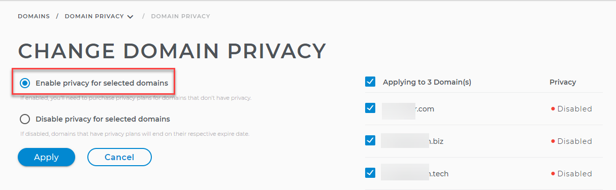 Enable privacy