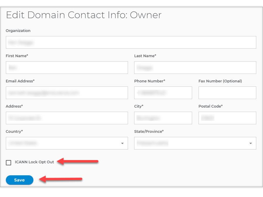 Edit Domain Contact info window
