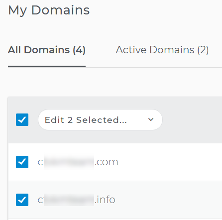 Choose domains for renewal