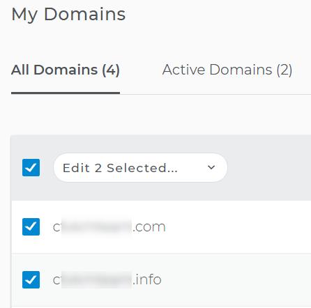 Choose domains for renewal
