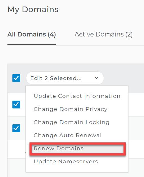 Renew domains