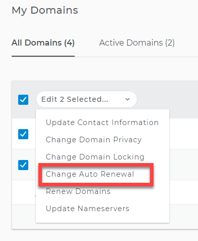 Change auto renewal