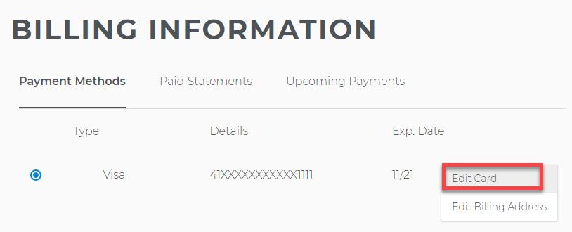 Change card info