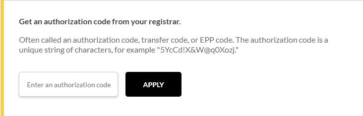 Authorization/EPP code field