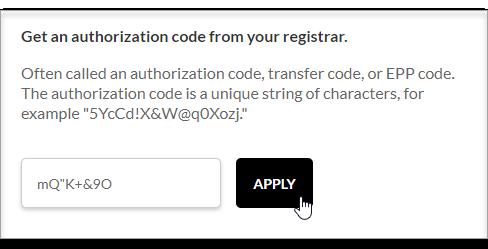 enter the Authorization/EPP code