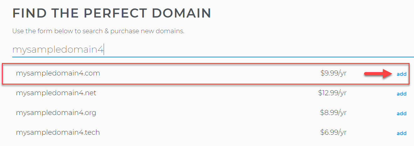 Type in your preferred domain name.