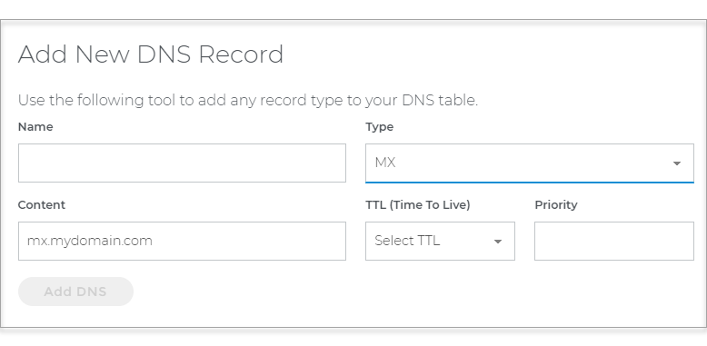 Add New DNS Record