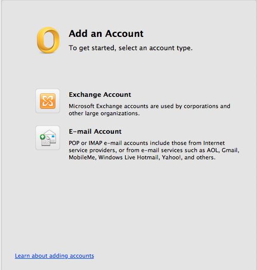 Select E-mail Account.