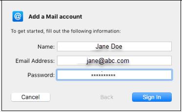 Add a mail account window