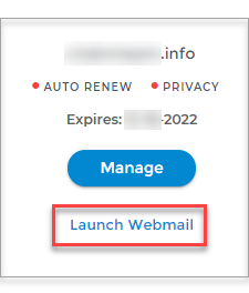 Card view, launch Webmail