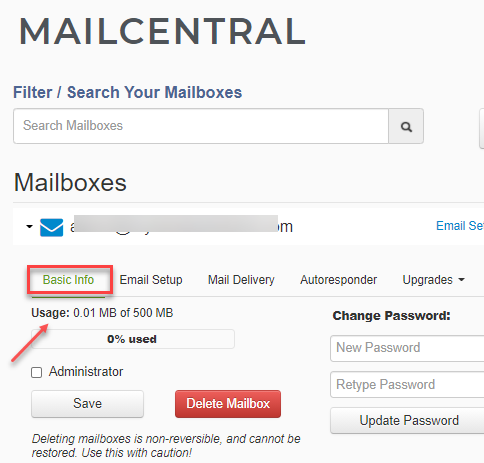 mailbox storage used