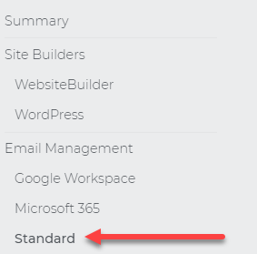 On the left menu, click Standard