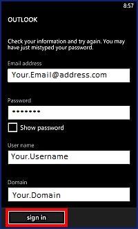 Outlook Credentials