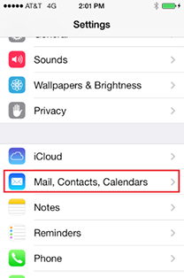 Mail, Contacts, Calendars