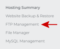 Click on FTP Management